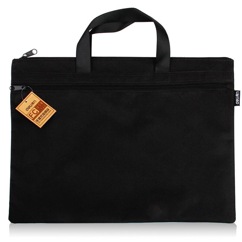 得力(deli) 5840 帆布手提袋文件袋档案袋公文包公文袋A4风琴包 黑色 5840
