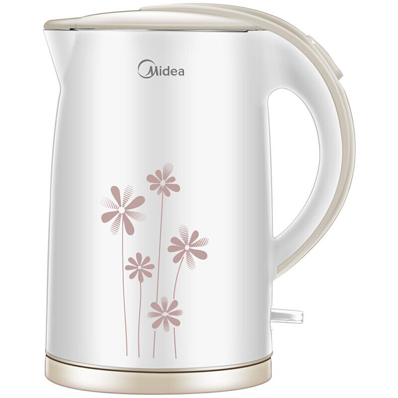 美的(Midea)电水壶 304不锈钢电热水壶 1.7L容量 无缝一体内胆 双层防烫烧水壶WH517E2b(白玉)