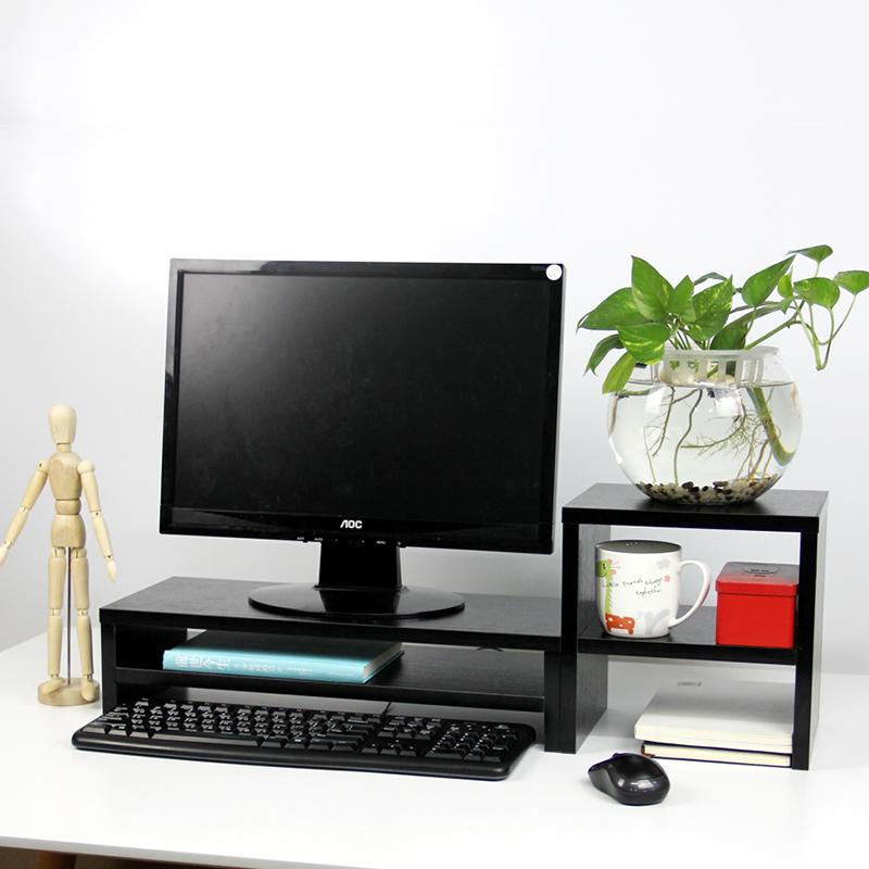 倍方电脑显示器桌 电脑支架 黑木纹双层+置物柜 电脑显示器增高架子 置物架 显示器支架 屏幕托架 键盘收纳架