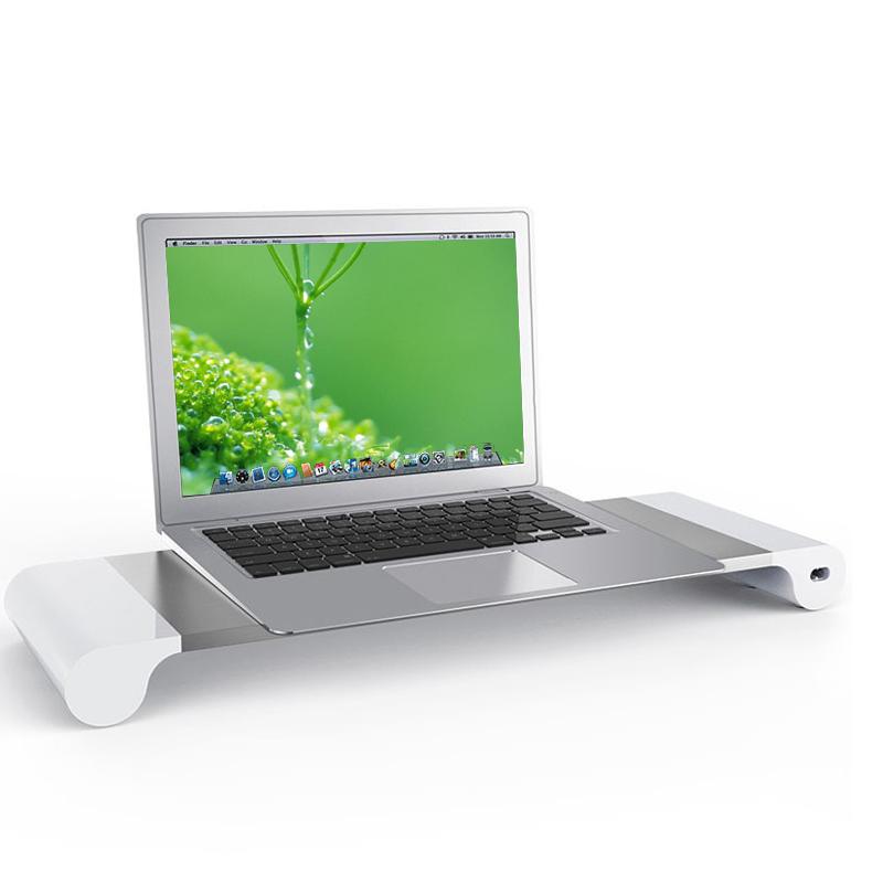 倍方铝合金属电脑显示器增高架 置物架底座 一体机液晶屏幕托架 办公桌面键盘收纳架 USB笔记本电脑支架