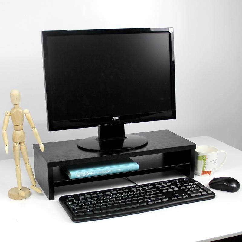 倍方电脑显示器桌 电脑支架 黑木纹双层 电脑液晶显示器增高架子 置物架 显示器支架 屏幕托架 键盘收纳架
