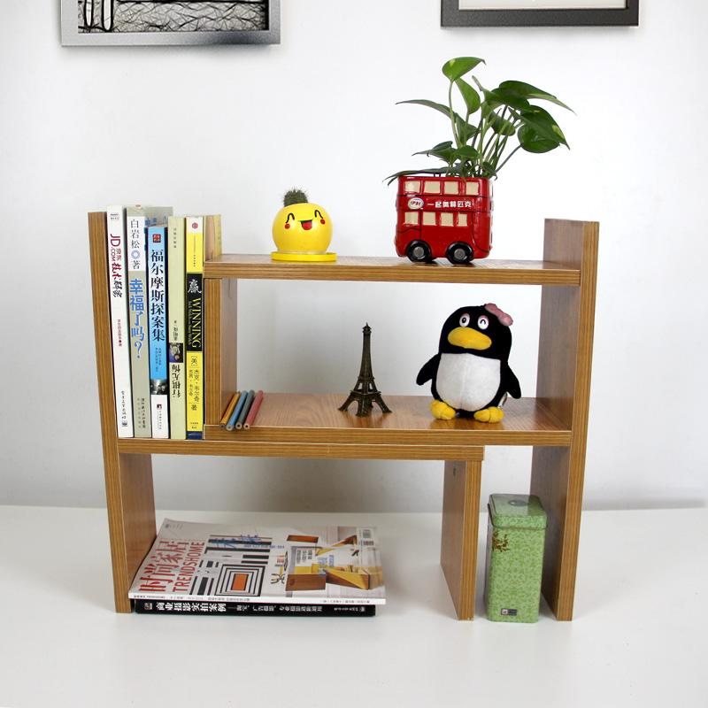 倍方桌面收纳架 简易办公桌置物架 文件柜 柚木色