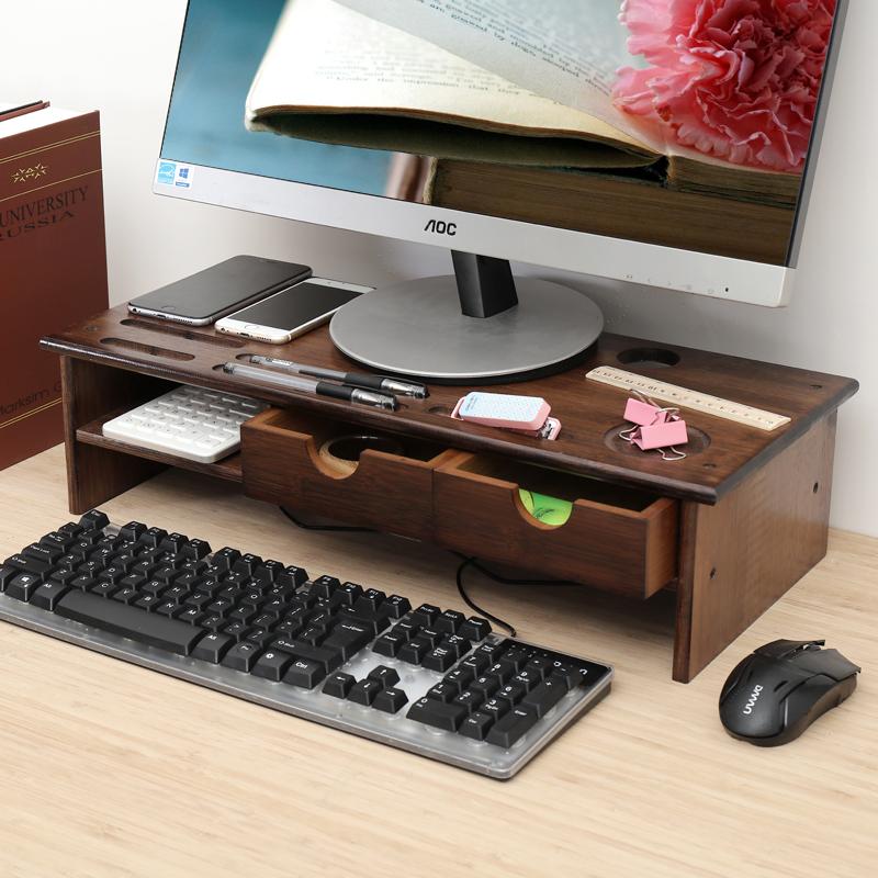 倍方 双抽屉胡桃木色双层显示器增高架 办公室电脑底座托架 收纳整理置物层 键盘收纳架 桌面收纳架