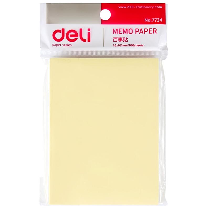 得力(deli) 7734 百事贴便利贴标签纸便签纸强黏性可反复粘撕(76*101mm)单本装