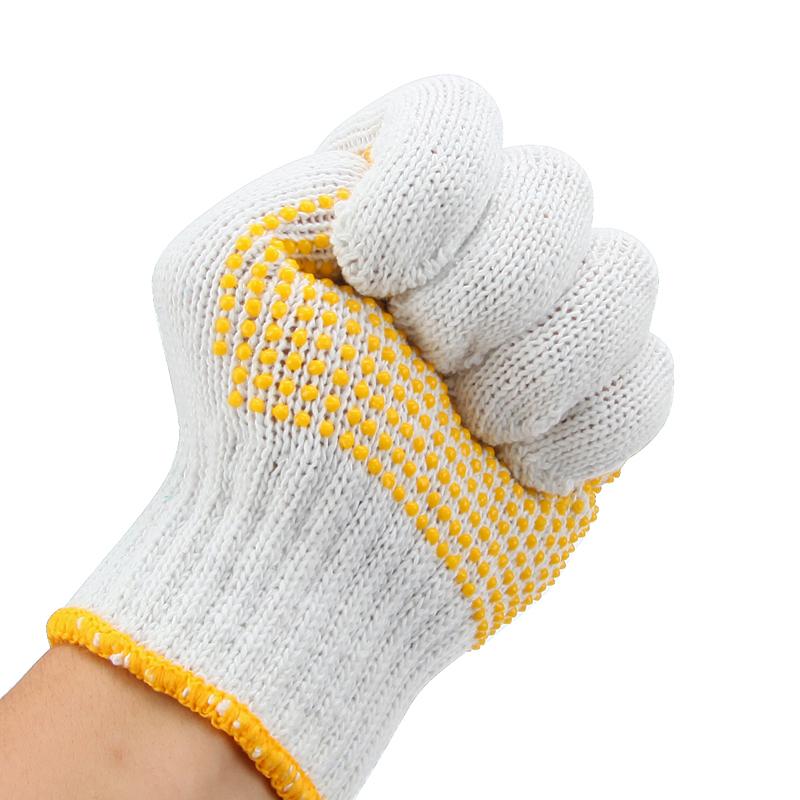 2081 点塑棉纱手套1副装 点珠点胶手套 工作司机开车防尘点珠手套