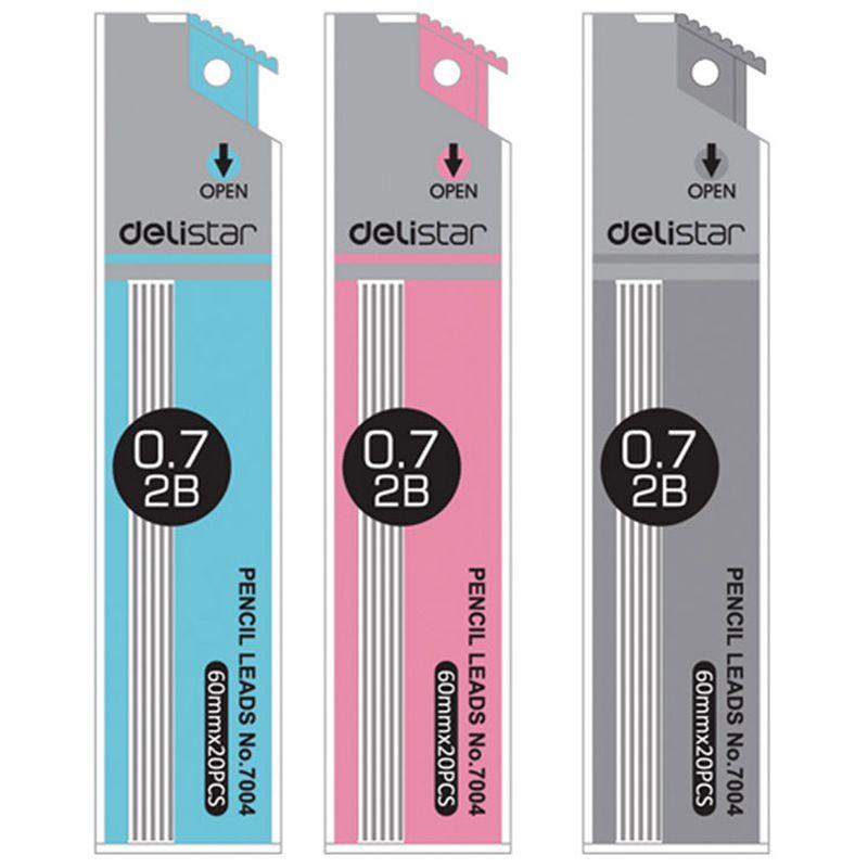 得力(deli) 0.7mm 2B铅芯 7004自动铅笔芯 活动铅笔铅芯 1大盒(48小盒)
