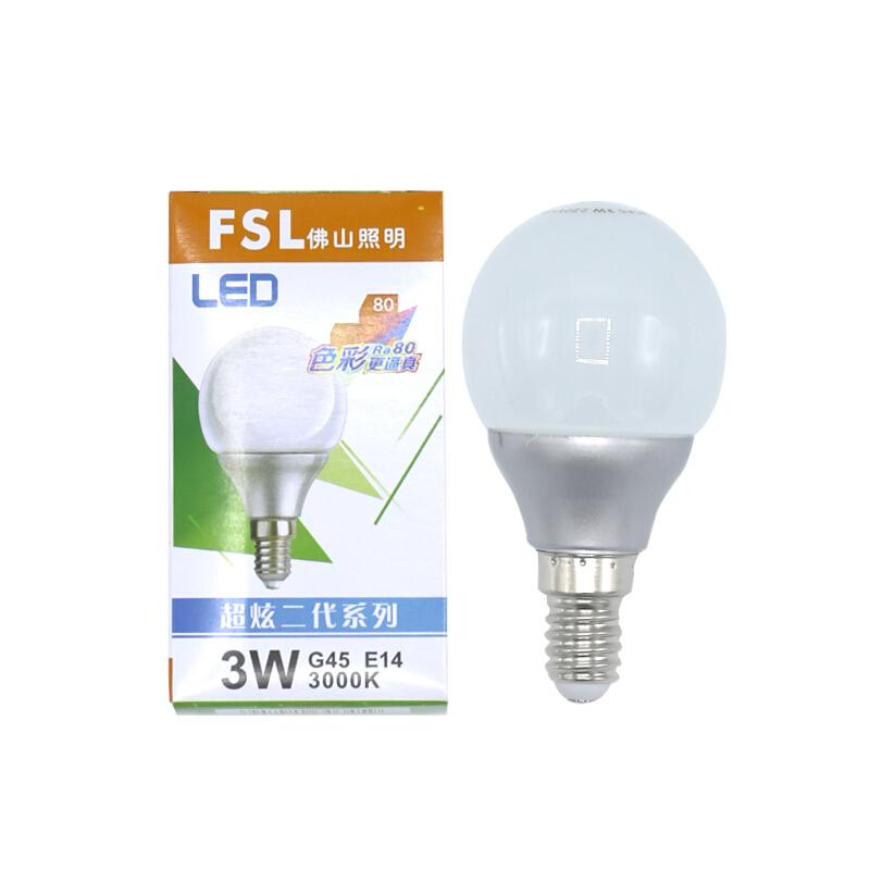 佛山照明(FSL)E14螺旋口 3W超炫二代系列LDE G45球泡