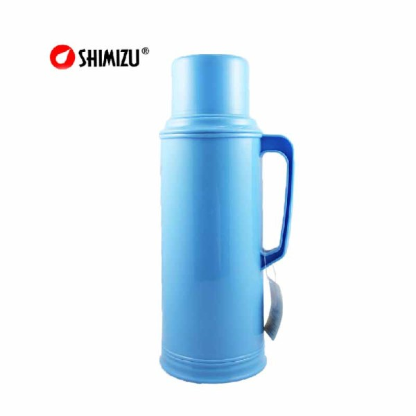 清水(shimizu) 清水热水瓶 家用塑料外壳保温瓶 玻璃内胆保温壶暖壶 开水瓶1061 蓝色 2000ml   2支装