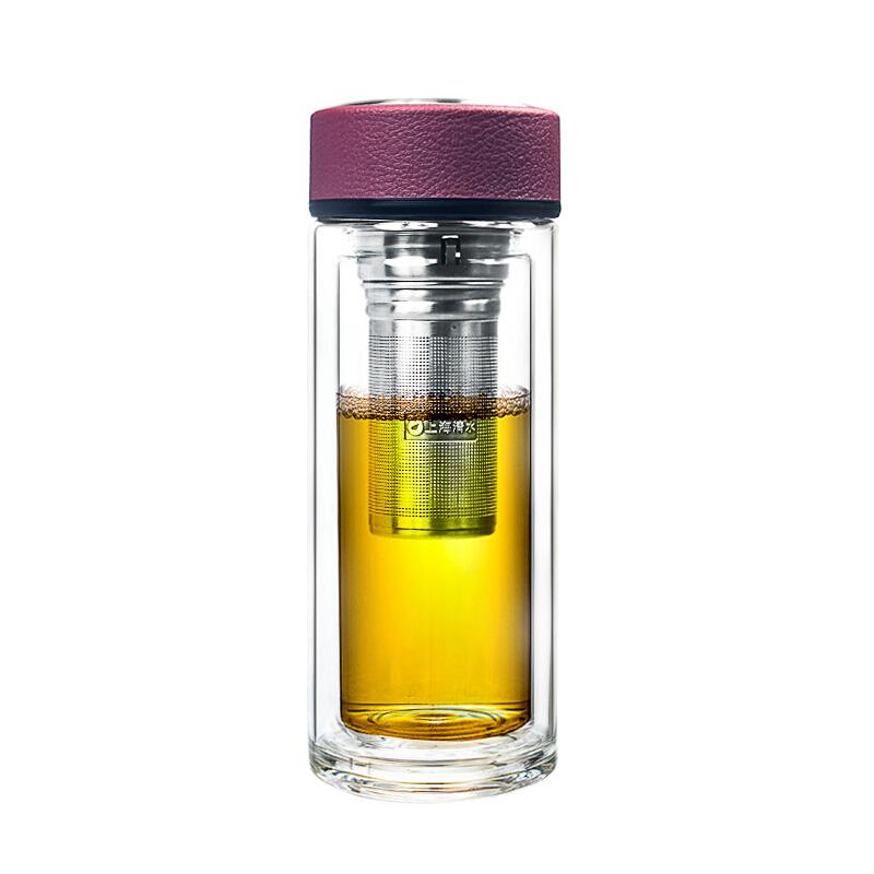 清水(SHIMIZU)双层玻璃杯带盖过滤茶杯透明玻璃水杯子礼盒8012 玫红色 250ml