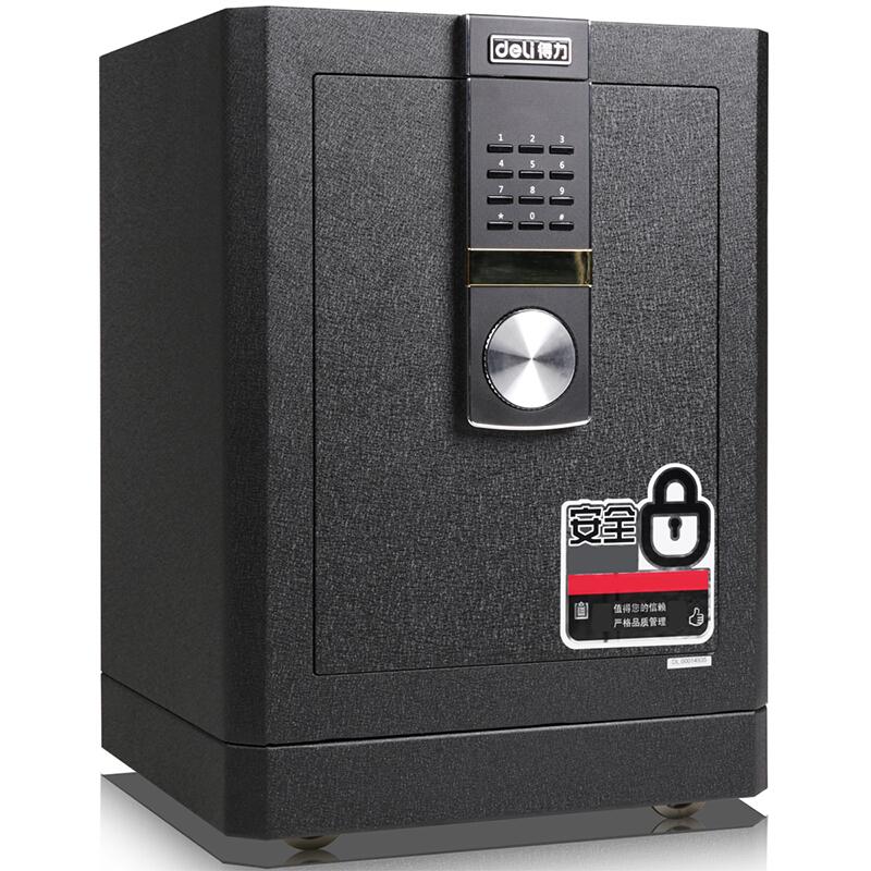 得力 (deli)4042保险柜家用全钢防盗办公家用保险箱3C认证小型入墙床头保险柜 黑色