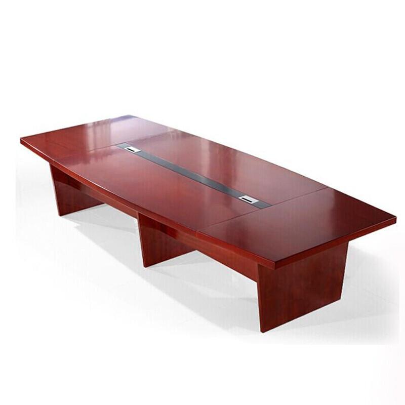 华鑫办公油漆实木贴皮职员会议桌办公会议培训洽谈桌会客接待桌实木办公桌 2400*1200*760