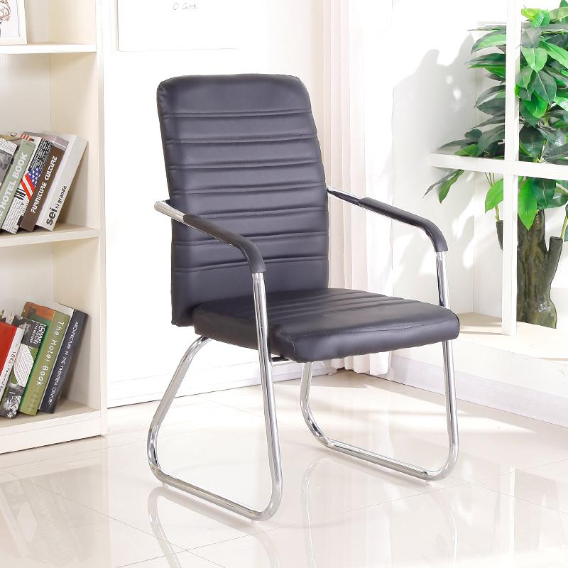 华鑫办公休闲办公椅子弓形电脑椅皮面会议椅职员椅靠背椅 黑色