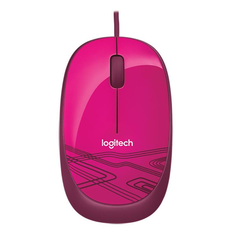 罗技(Logitech) M105 有线鼠标 笔记本台式电脑USB鼠标轻巧便携鼠标 蜜桃粉