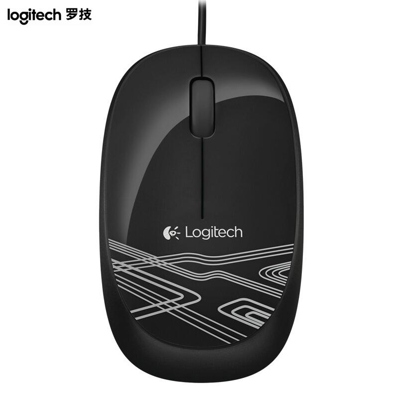 罗技(Logitech) M105 有线鼠标 笔记本台式电脑USB鼠标轻巧便携鼠标 炫酷黑