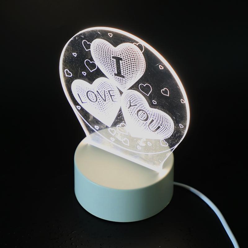 墨斗鱼 3D创意台灯1021爱心LOVE网红小夜灯情侣生日新年礼盒情人节礼物送女生儿童实用男朋友闺蜜生日礼物