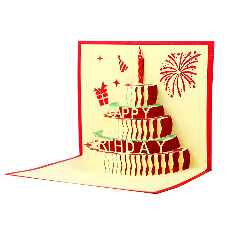 墨斗鱼 3D 贺卡生日蛋糕 2524 可爱蛋糕贺卡卡片 员工朋友生日祝福 心愿祝福语小卡片 生日节日创意贺卡