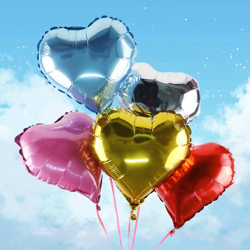 墨斗鱼心形铝箔气球 0642 节日七夕告白心型气球儿童生日派对铝膜 气球婚庆用品婚房布置装饰套装气球 10 只装