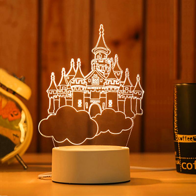墨斗鱼3D创意台灯1045天空城堡情人节礼物送男友生日礼物女生闺蜜新年diy设计实用韩国创意礼品网红小夜灯
