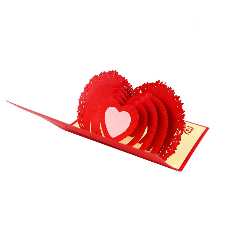 墨斗鱼 3D 贺卡爱心 2531 表白心意告白卡片 纸雕折叠立体贺卡彩色 剪纸感恩卡 节日祝福卡片