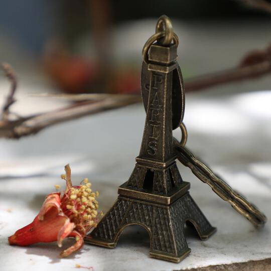 墨斗鱼 埃菲尔铁塔钥匙扣5cm 创意复古家居铁艺摆件 饰品礼品工艺品生日礼物