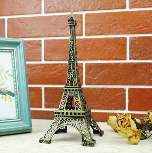 墨斗鱼 埃菲尔铁塔铜色15cm 巴黎埃菲尔铁塔模型摆件 书房卧室玄关客厅酒店酒柜电视柜学习办公桌面饰品