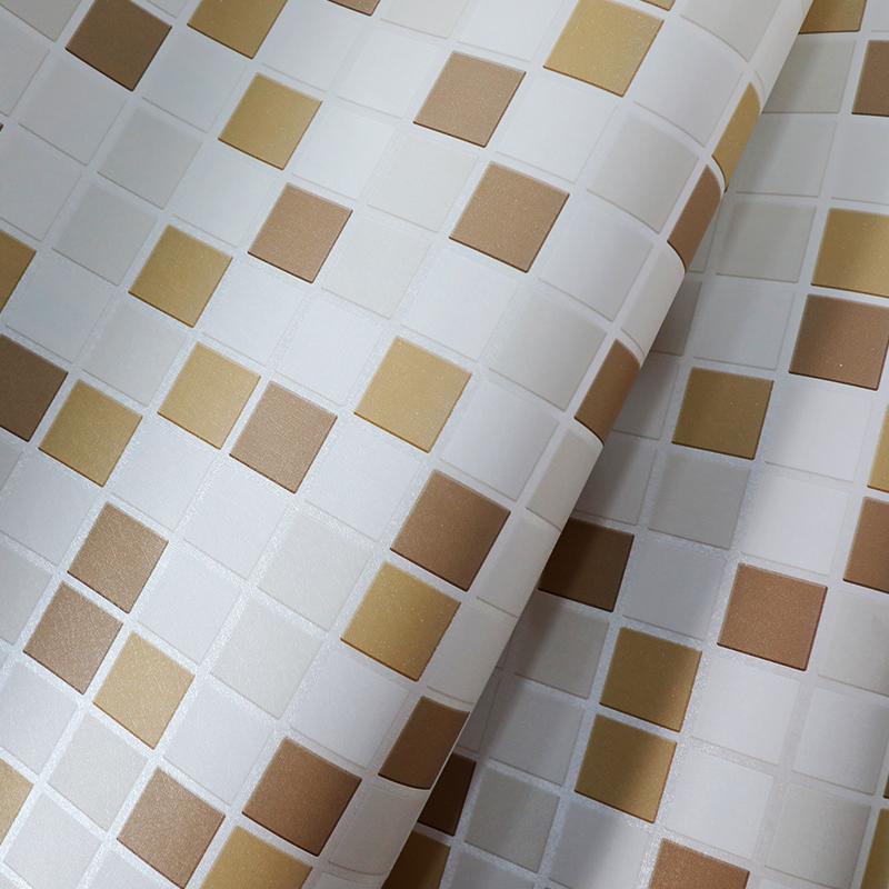 墨斗鱼自粘墙贴黄色马赛克9219 防水壁纸墙纸卫生间洗手间浴室卫浴墙壁翻新贴纸厨房瓷砖防油贴纸0.45*10米
