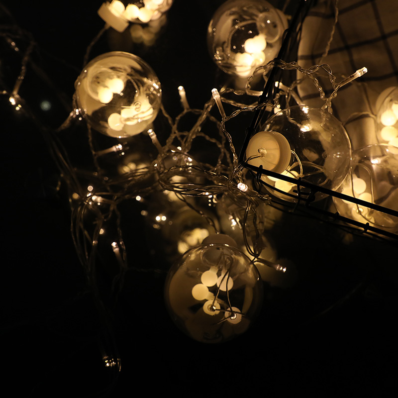 墨斗鱼暖白色心愿球窗帘灯2.5米插电款LED灯彩灯装饰窗帘房间卧室阳台走廊节日生日礼物结婚布置婚庆用品