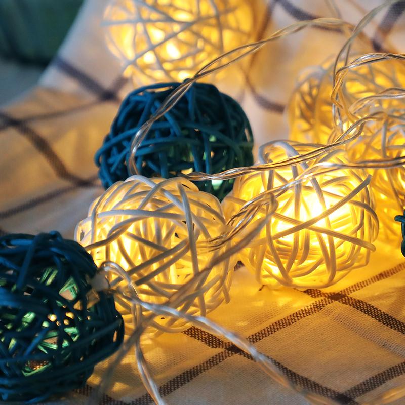 墨斗鱼 藤球灯3米20灯电池款 LED小彩灯浪漫节日生日告白求婚彩灯串灯装饰房间卧室阳台挂串灯防水小夜灯