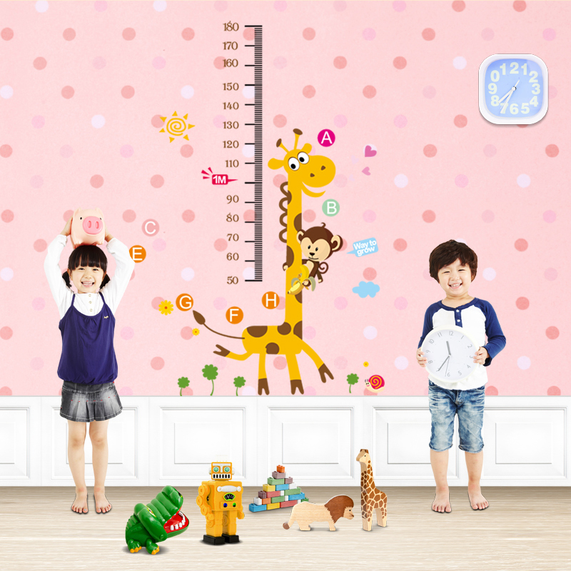 墨斗鱼 身高贴 长颈鹿2586 儿童房身高贴墙纸 卡通小动物长颈鹿测身高墙贴幼儿园早教班装饰贴纸