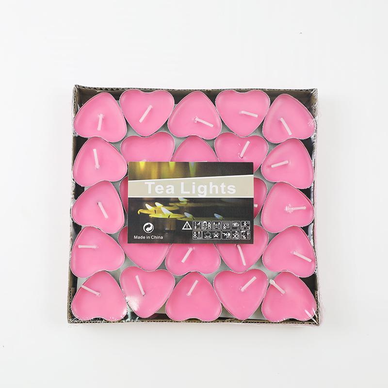 墨斗鱼 香薰蜡烛心形粉色50只装7352小蜡烛浪漫告白追求女孩烛光晚餐蜡烛生日快乐蜡烛装饰摆心型