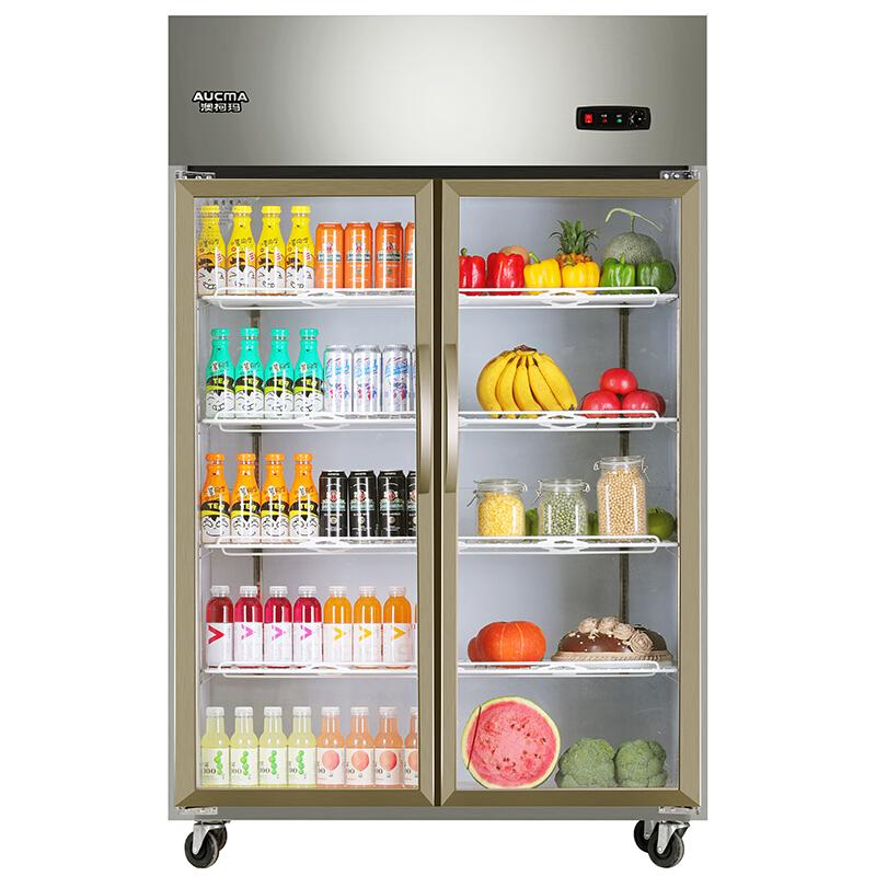 澳柯玛(AUCMA)880升立式双门玻璃门展示柜 水果蔬菜商用保鲜冷藏柜 全冷藏厨房冰箱 VC-880D